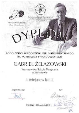 dyplom ucznia szkoły muzycznej w Warszawie